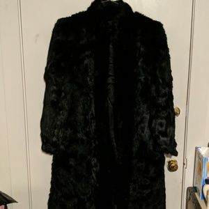 Ladies 100% rabbit fur trench coat